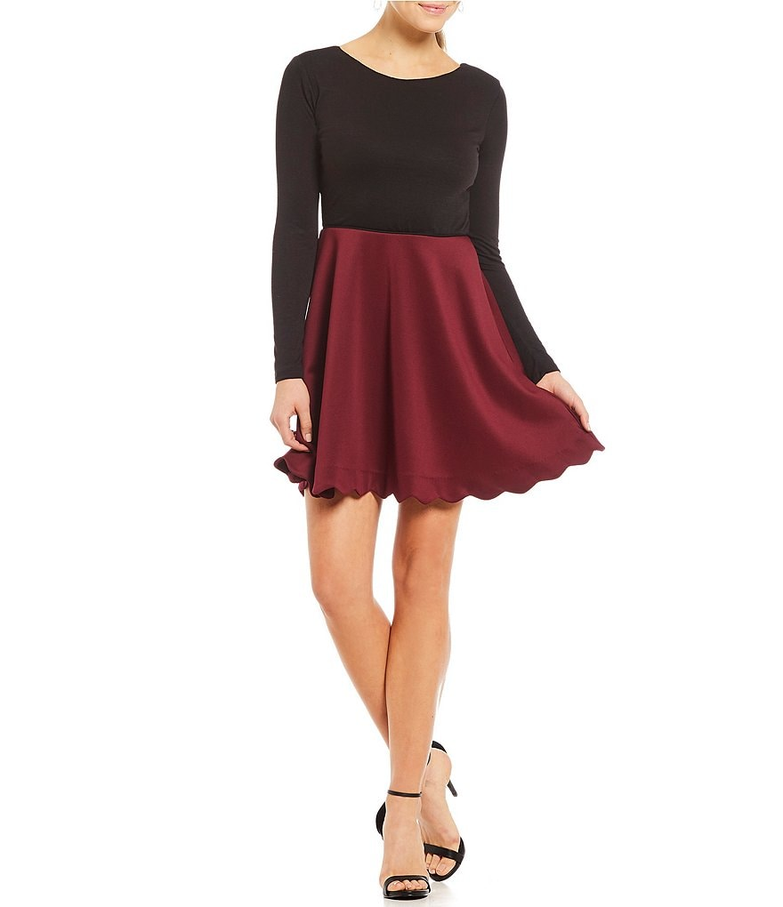 Jodi Kristopher Color Block Fit-And-Flare Dress