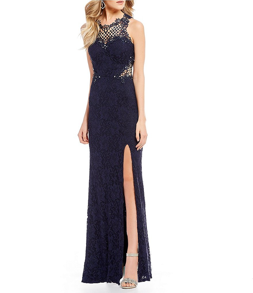 Jodi Kristopher Crochet Inset Glitter Lace Long Dress