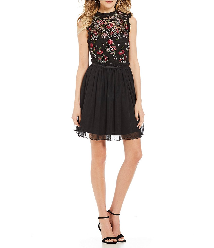 Jodi Kristopher Embroidered Fit-And-Flare Dress