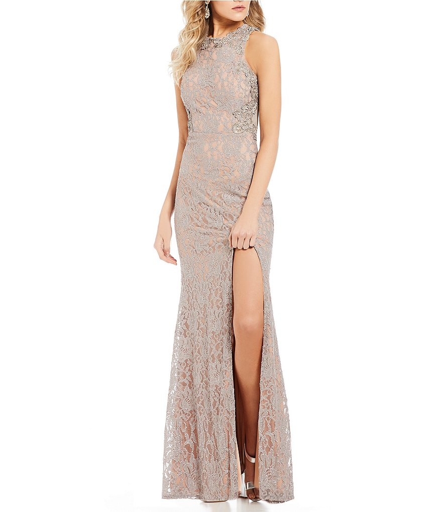 Jodi Kristopher Embroidery Outlined Lace Long Dress