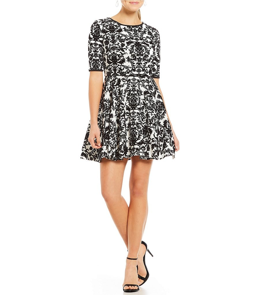 Jodi Kristopher Flocked Fit-And-Flare Dress