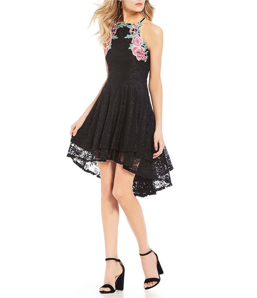 Jodi Kristopher Floral Embroidered Lace High-Low Dress