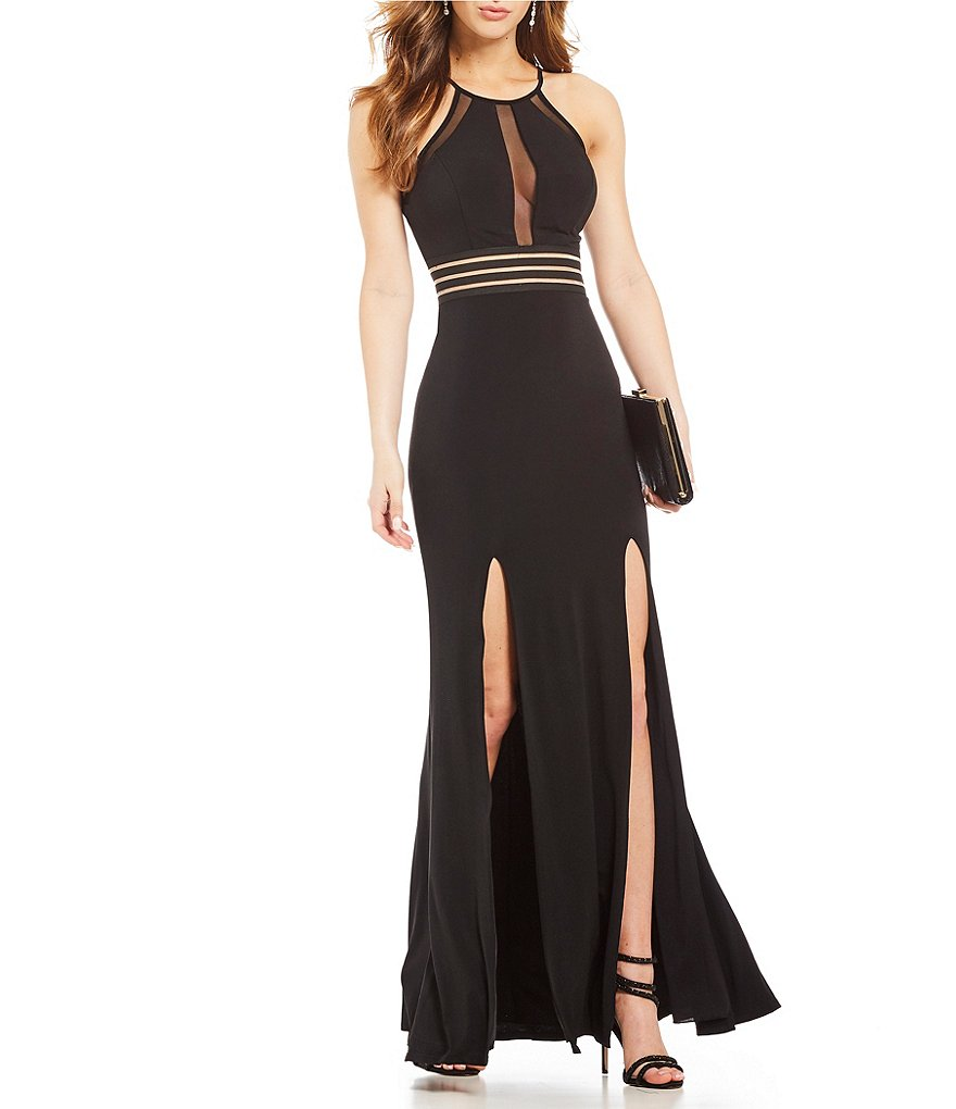 Jodi Kristopher Illusion Inset Waist Long Dress