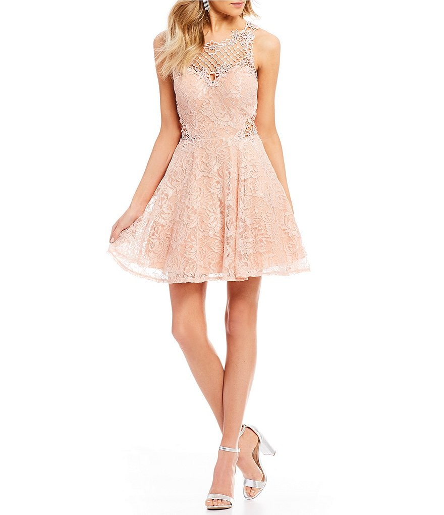 Jodi Kristopher Lace Applique Inset Fit-And-Flare Dress