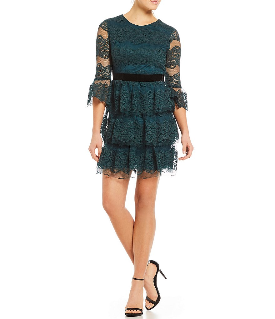 Jodi Kristopher Lace Tiered Skirt Fit-And-Flare Dress