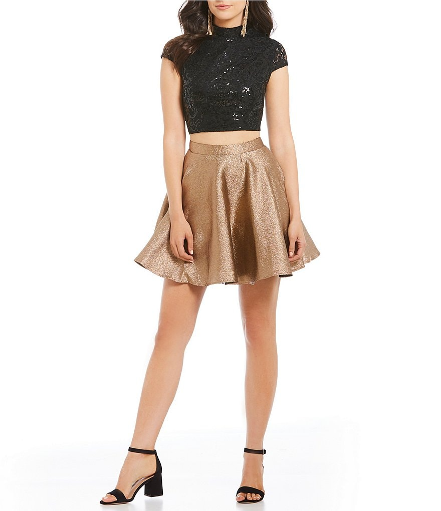 Jodi Kristopher Lace Top with Metallic Skirt Two-Piece Dress