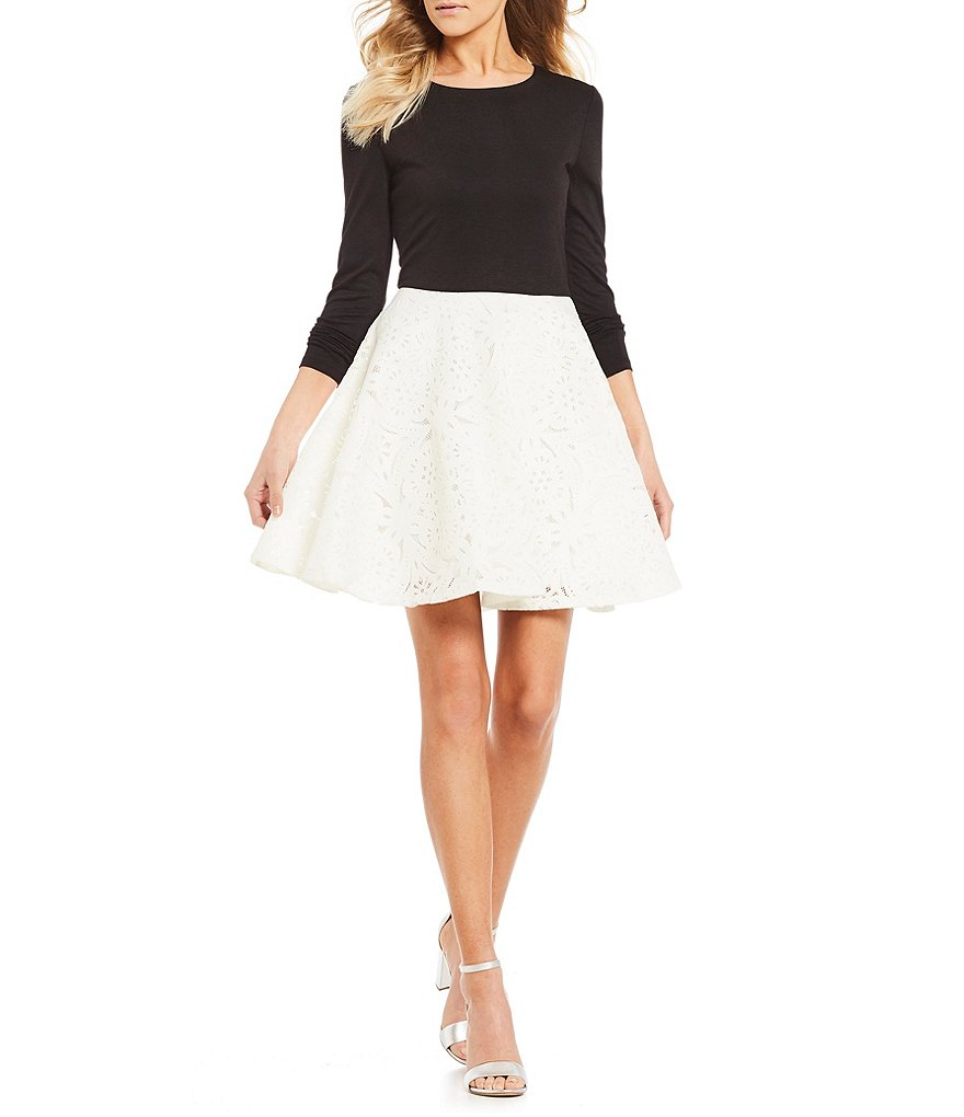 Jodi Kristopher Laser Cut Fit-And-Flare Dress