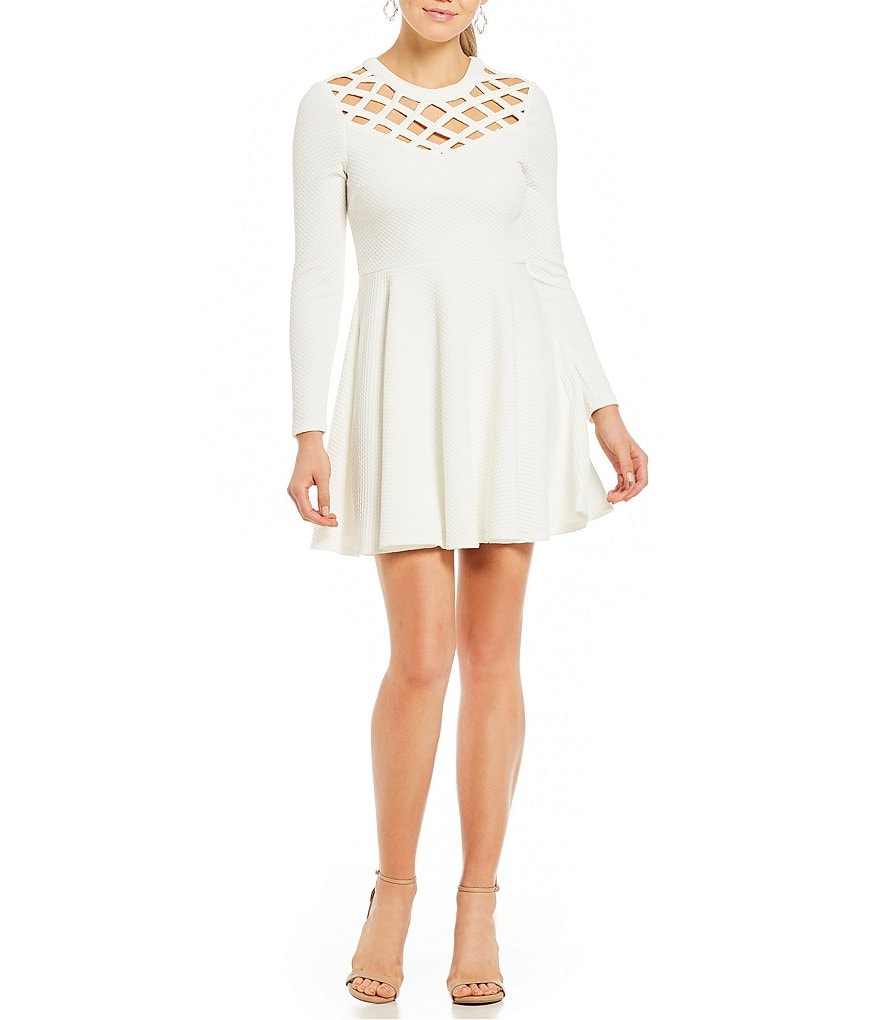 Jodi Kristopher Long Sleeve Textured Knit Fit-And-Flare Dress