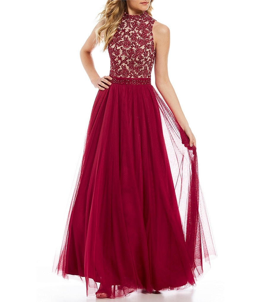 Jodi Kristopher Mock Neck Embroidered Applique Ball Gown
