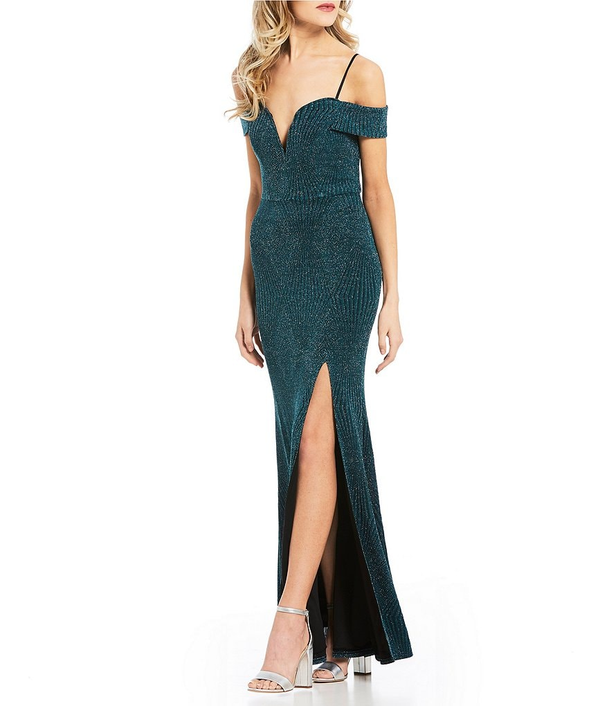 Jodi Kristopher Off-The-Shoulder Glitter-Knit Long Dress