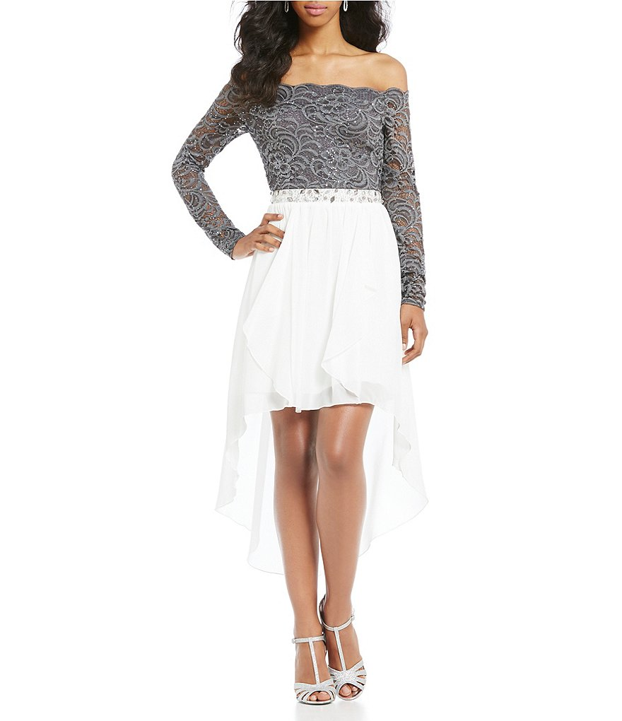 Jodi Kristopher Off the Shoulder High-Low Dress