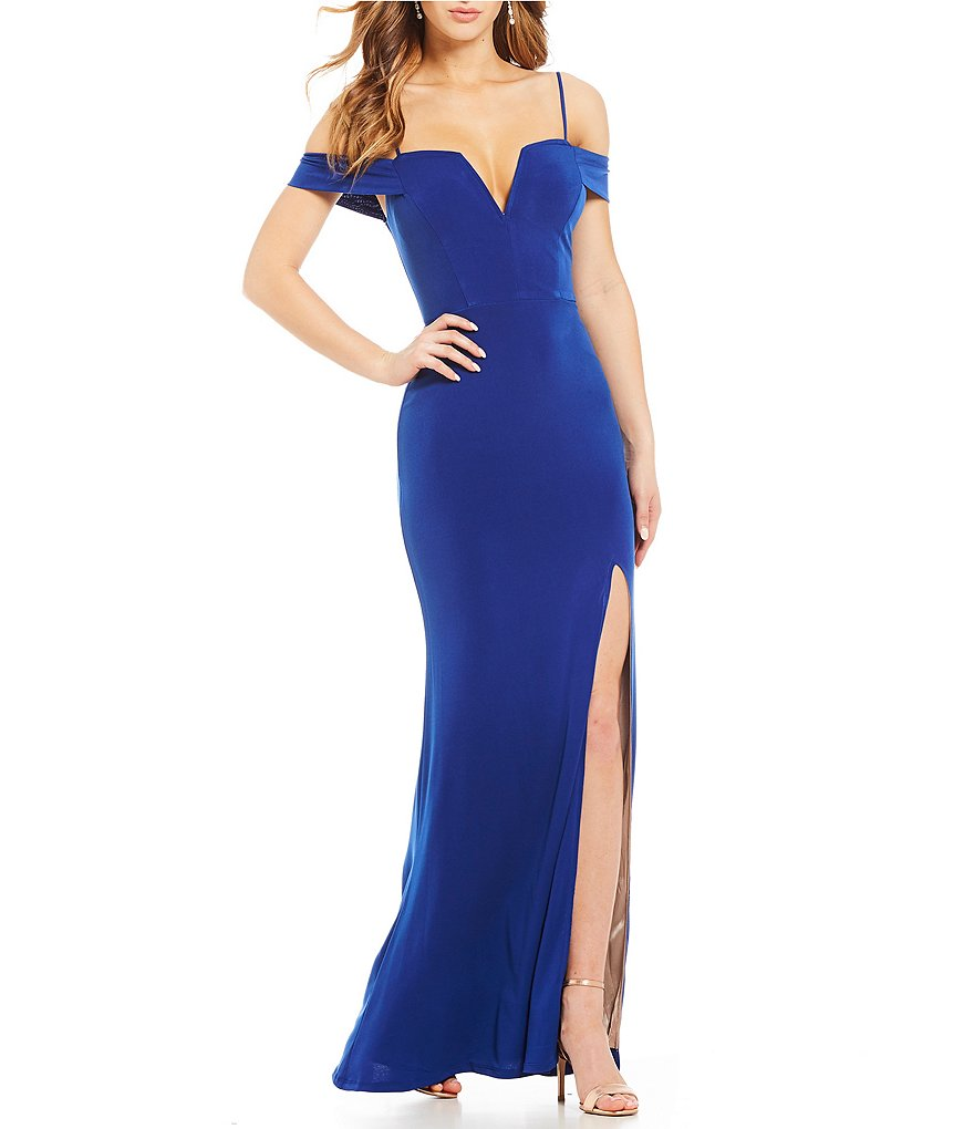 Jodi Kristopher Off-The-Shoulder Long Dress
