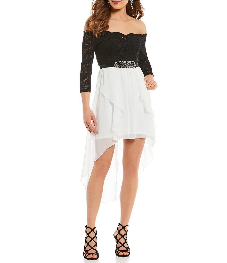 Jodi Kristopher Off-The-Shoulder Long Sleeve Lace Bodice High Low Dress