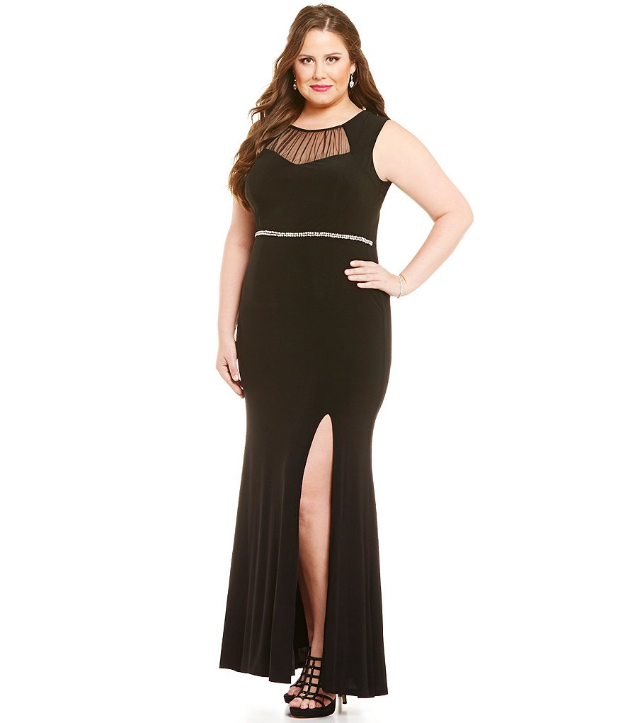 Jodi Kristopher Plus Illusion Ruched Yoke Long Dress