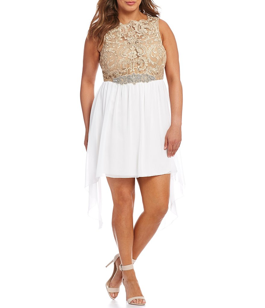 Jodi Kristopher Plus Metallic Embroidered High-Low Dress