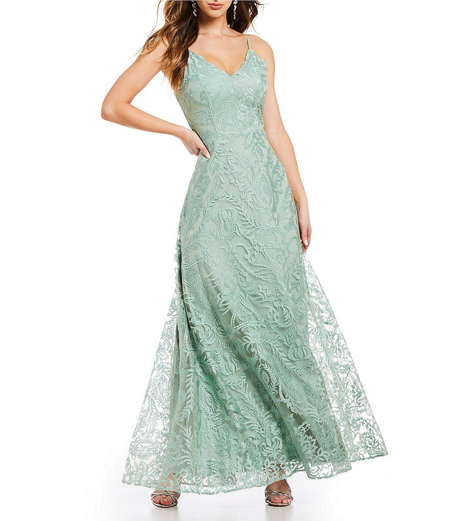 Jodi Kristopher Scalloped Neckline Embroidered Long Dress