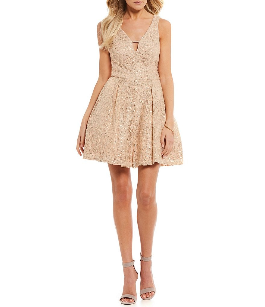 Jodi Kristopher Sequin Embellished Lace Fit-And-Flare Dress