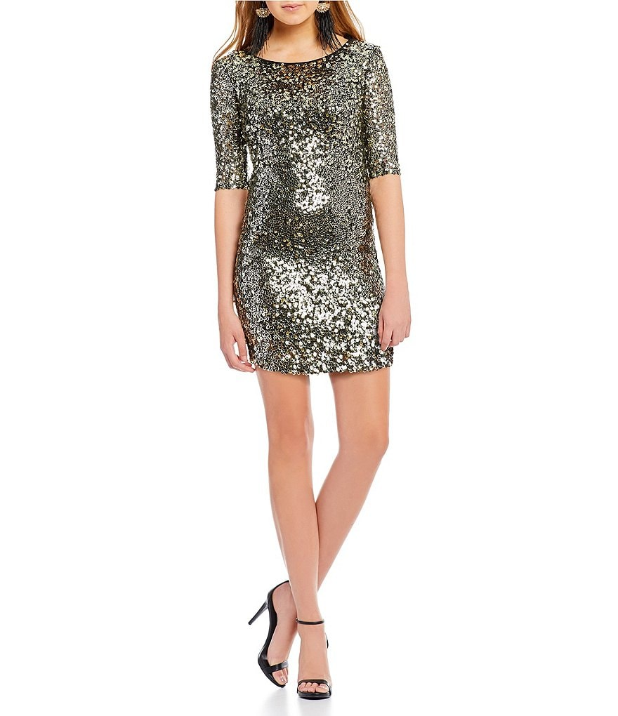 Jodi Kristopher Sequin-Embellished Sheath Dress