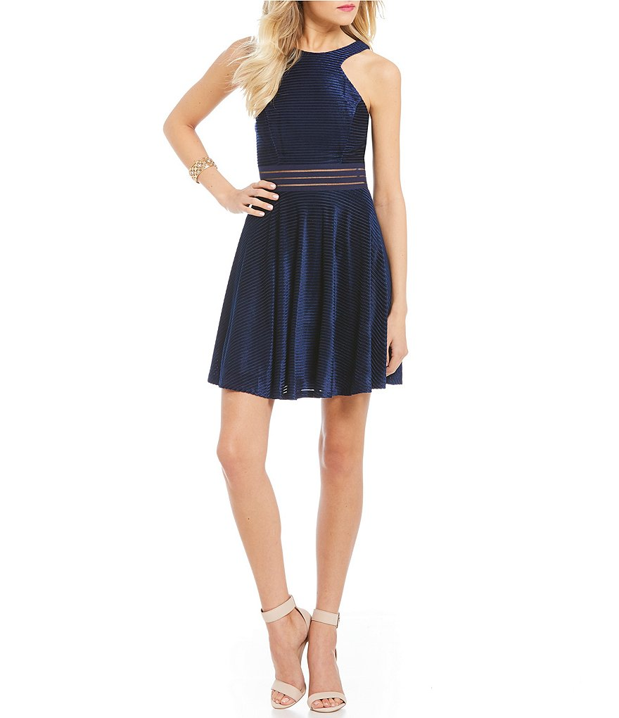 Jodi Kristopher Shadow-Stripe Velvet A-Line Dress
