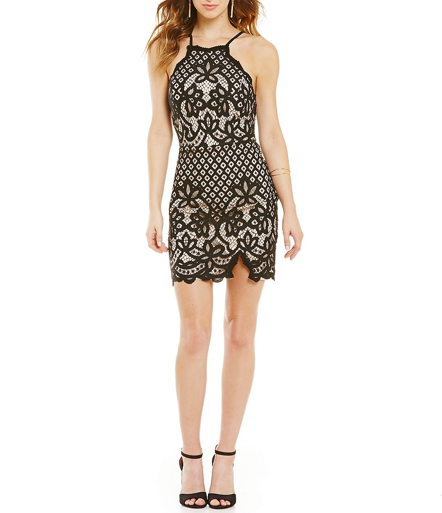 Jodi Kristopher Spaghetti-Strap Two-Tone Border Lace Sheath Dress