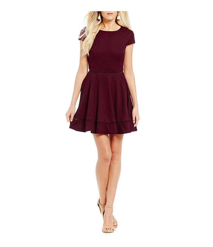 Jodi Kristopher Trim Inset Textured Knit Skater Dress