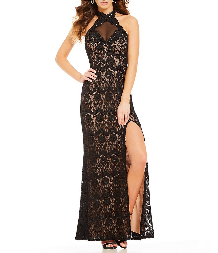 Jodi Kristopher Two-Tone Lace Long Dress