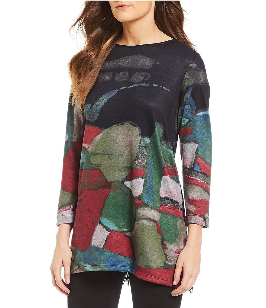John Mark Abstract Print Velvet Scoop Neck Tunic