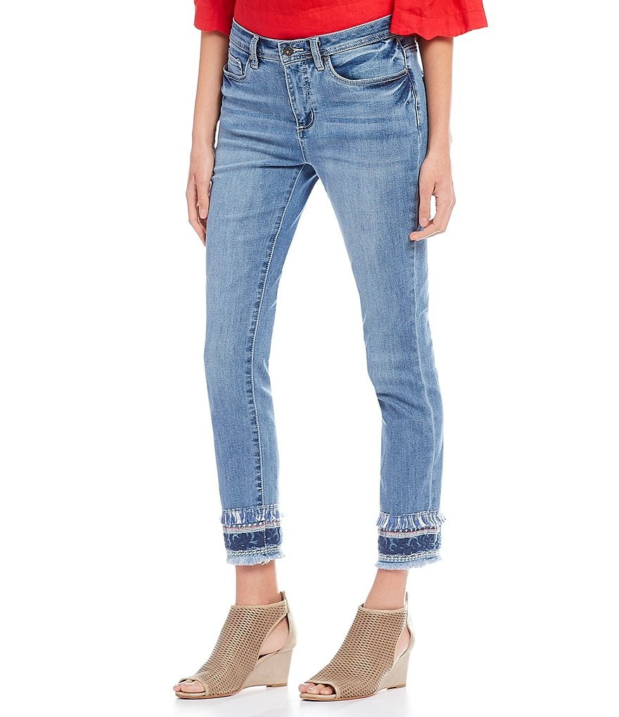 John Mark Border Embroidered Fringe Frayed Hem Crop Jeans