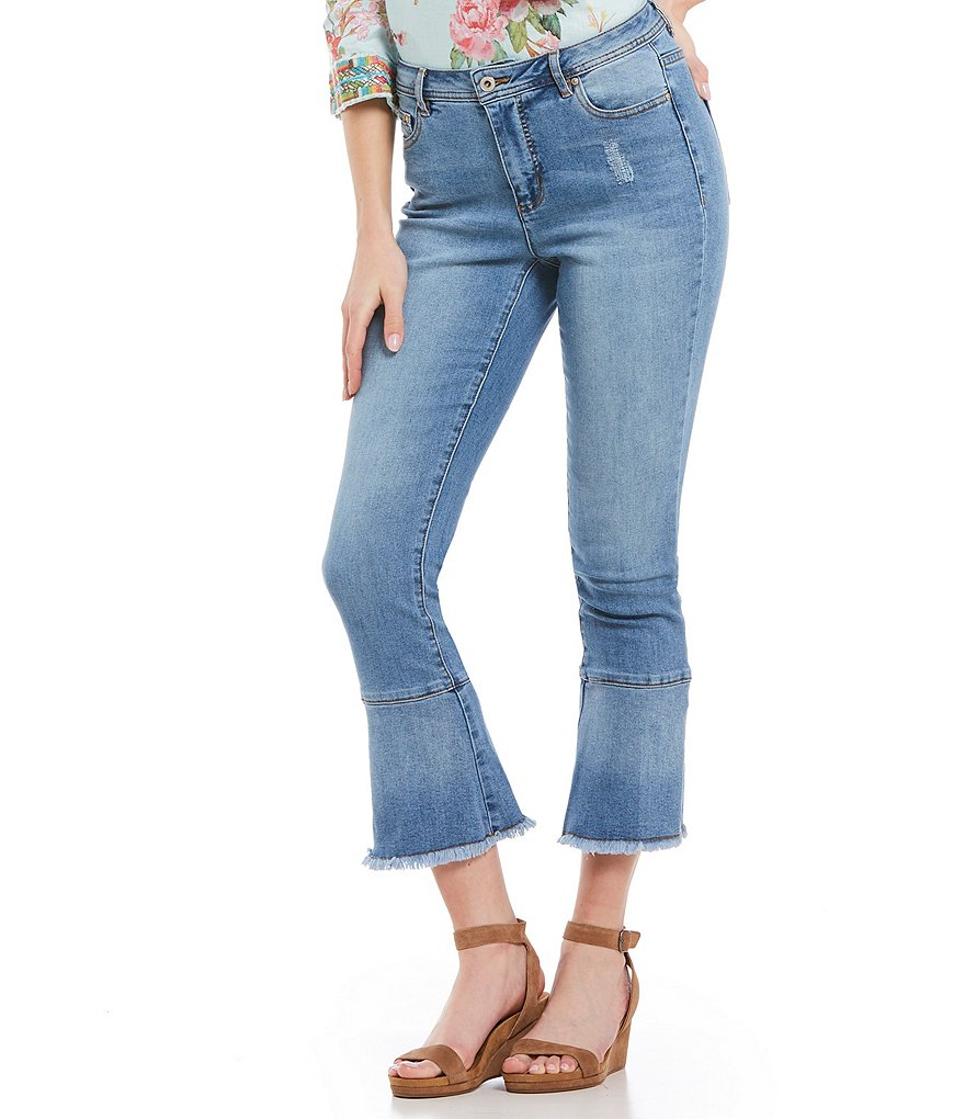 John Mark Distressed Frayed Hem Crop Flare Bell Jean