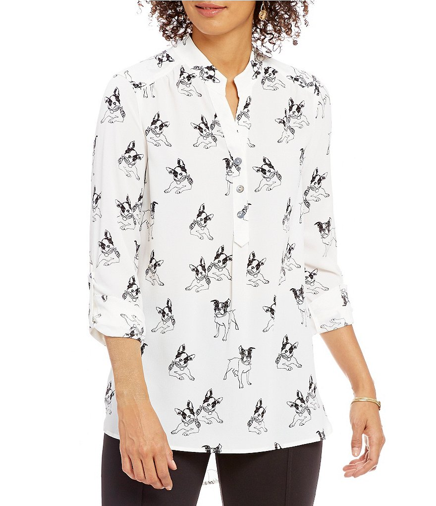 John Mark Dog Print Blouse