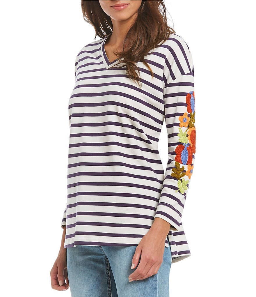 John Mark Embroidered Striped Tunic