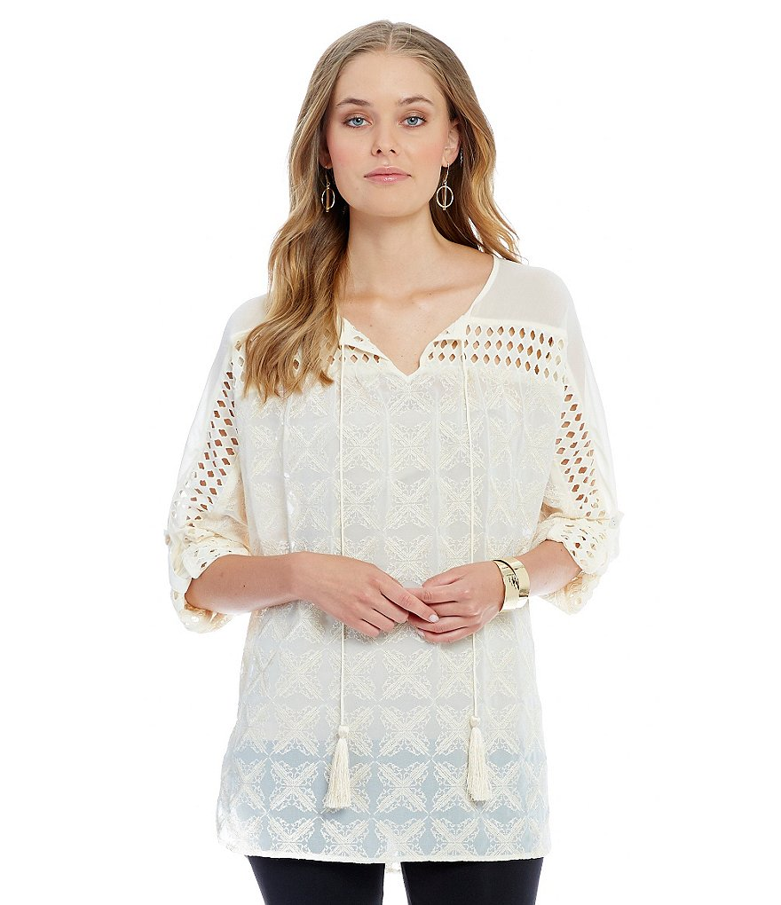 John Mark Eyelet Detail Blouse