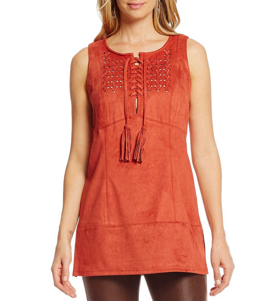 John Mark Faux-Suede Lace-Up Novelty Top