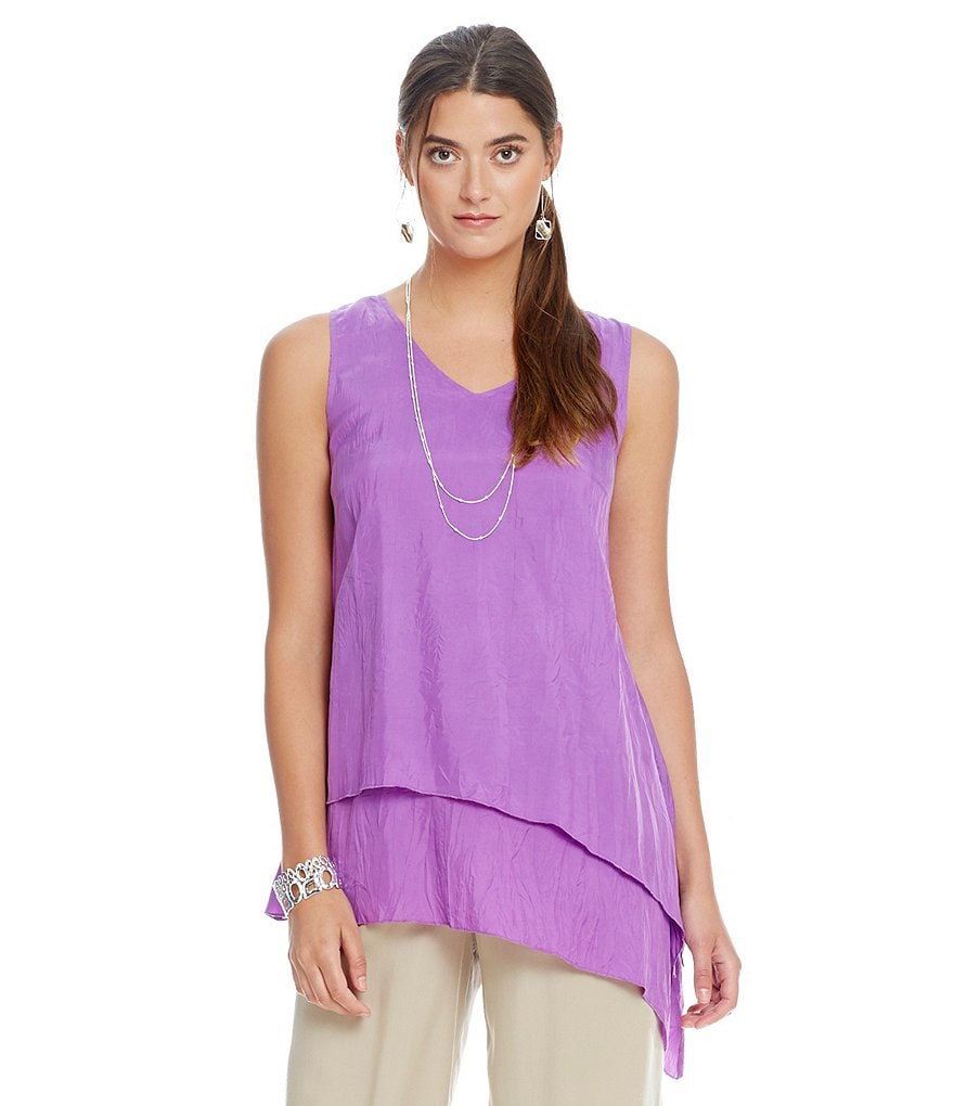 John Mark Layered Sleeveless Asymmetric Tunic