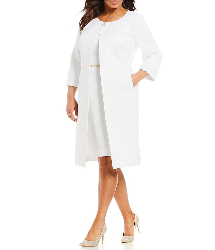 John Meyer Plus Size White Jacquard Topper Jacket Chain Belted Sheath Dress 2-Piece Suit