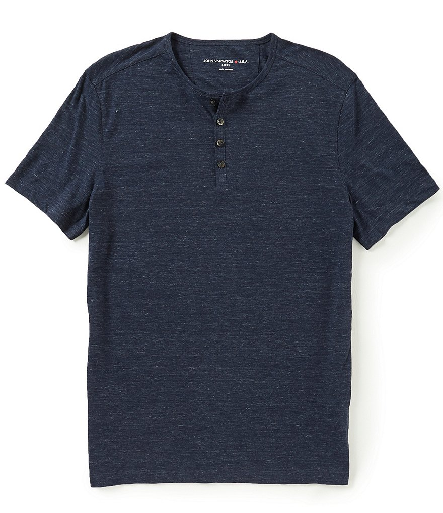 John Varvatos Star USA Melange Short-Sleeve Henley