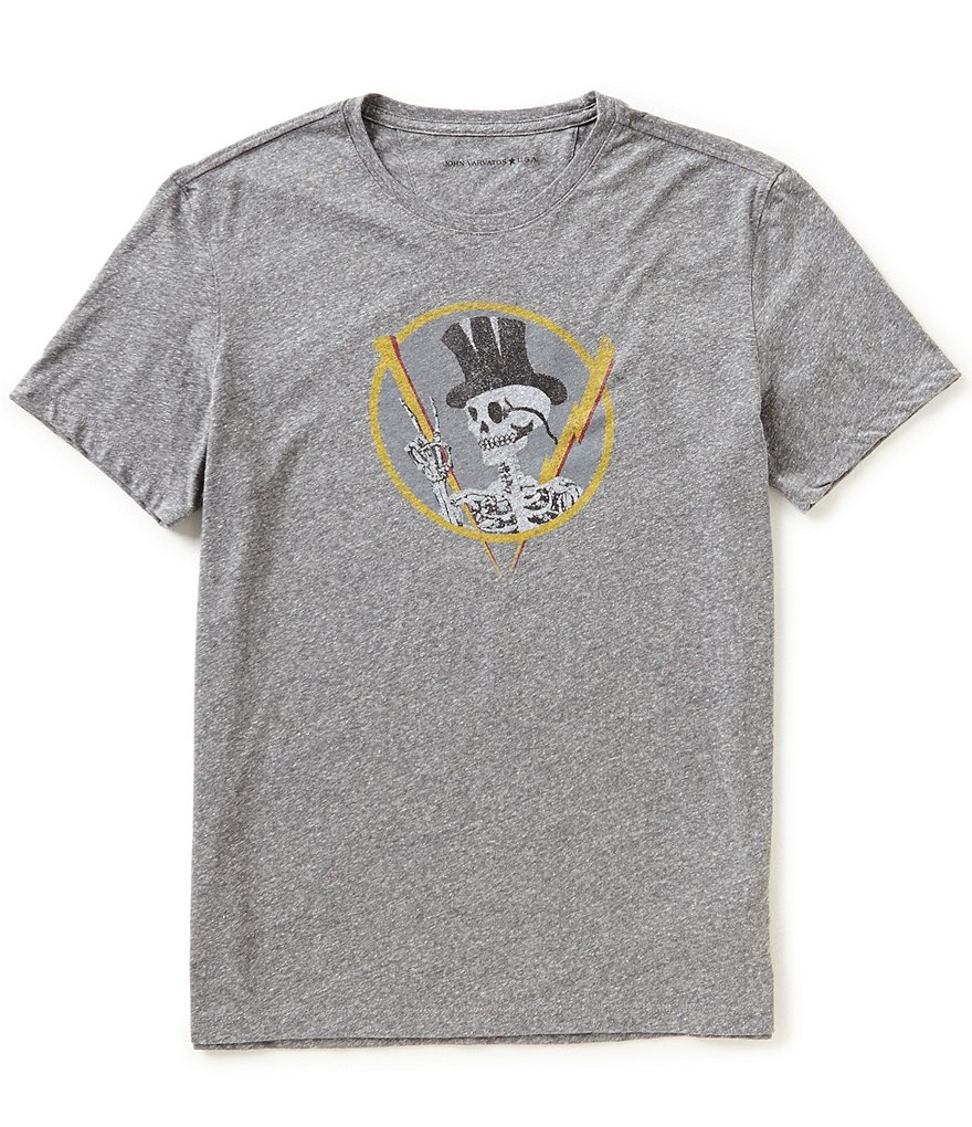 John Varvatos Star USA Top Hat Skull Crew Neck Short-Sleeve Graphic Tee