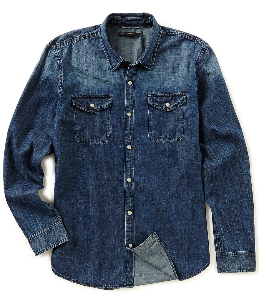 John Varvatos Star USA Weathered Denim Long-Sleeve Button Front shirt
