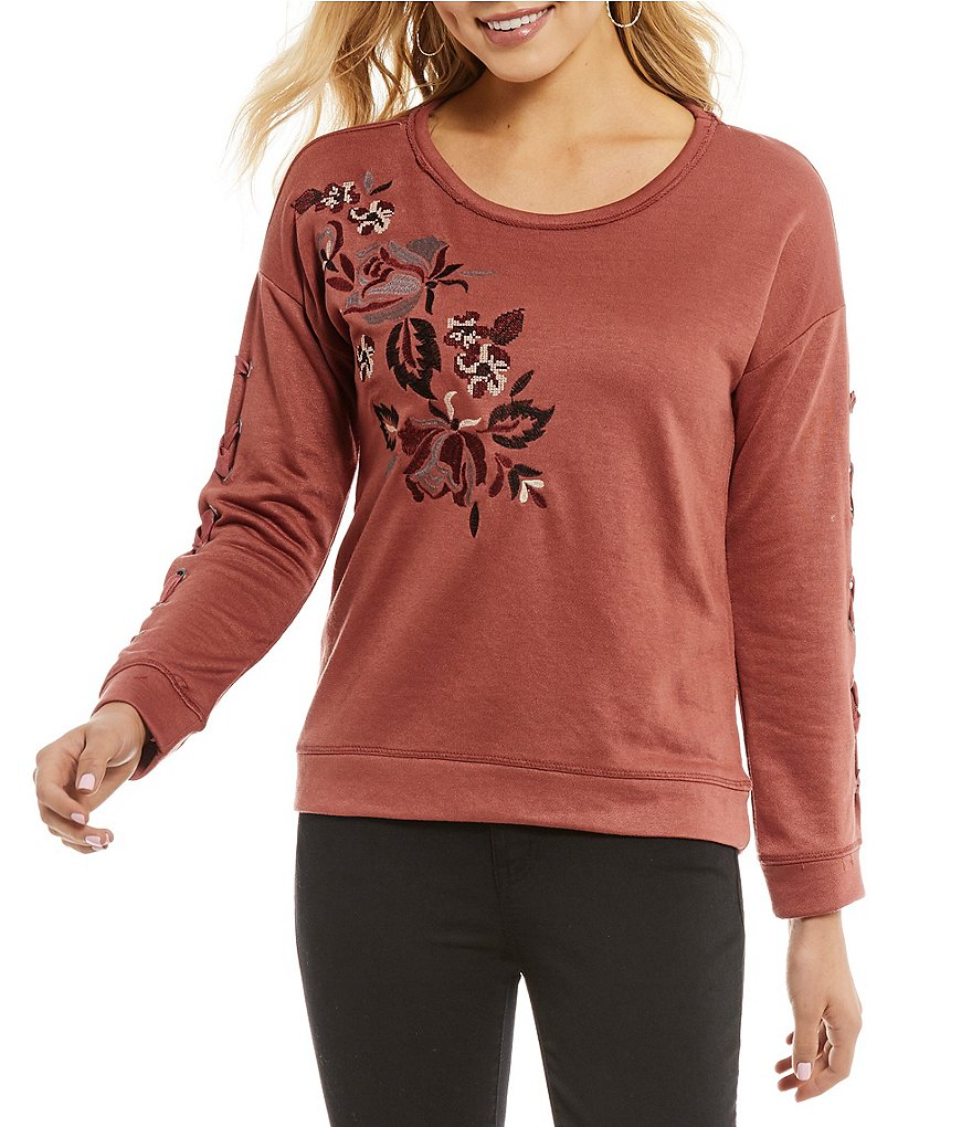Jolt Floral-Embroidered Sweatshirt