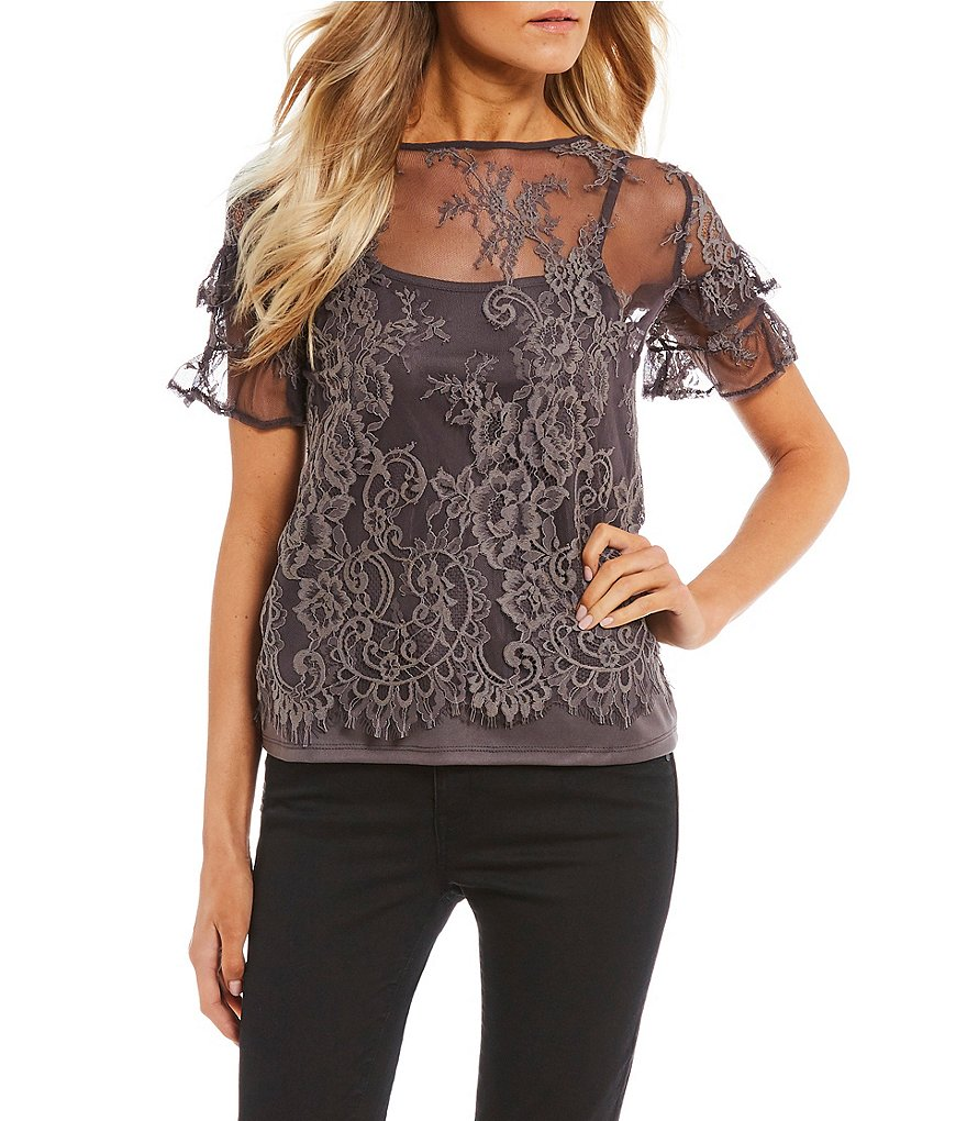 Jolt Lace Short Sleeve Ruffle Top