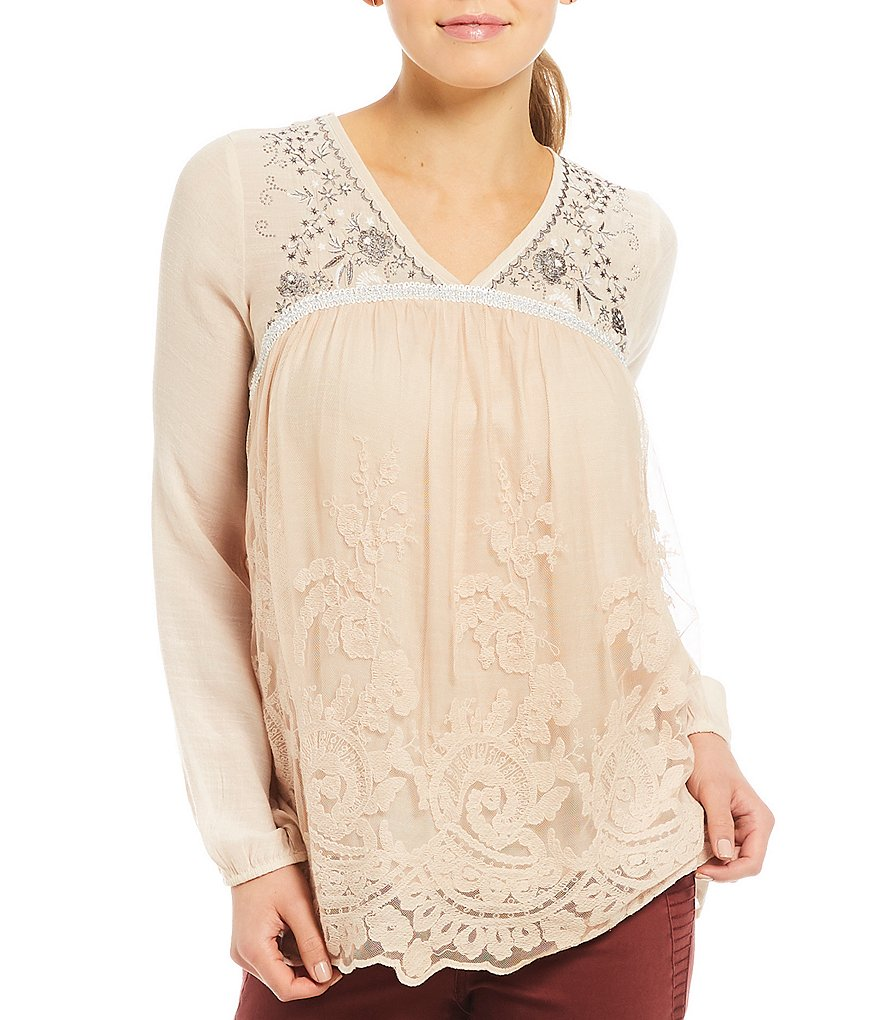 Jolt Metallic Embroidered V-Neck Long Sleeve Lace Overlay Top