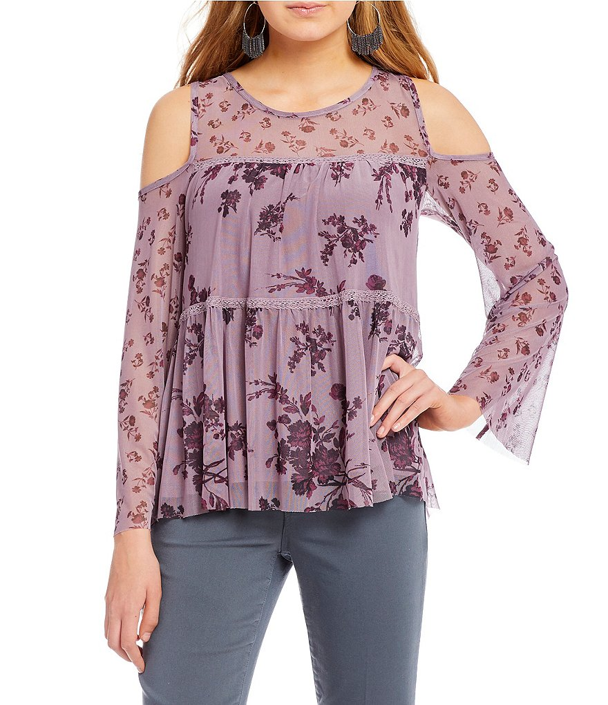 Jolt Twin Printed Mesh Tiered Cold Shoulder Top