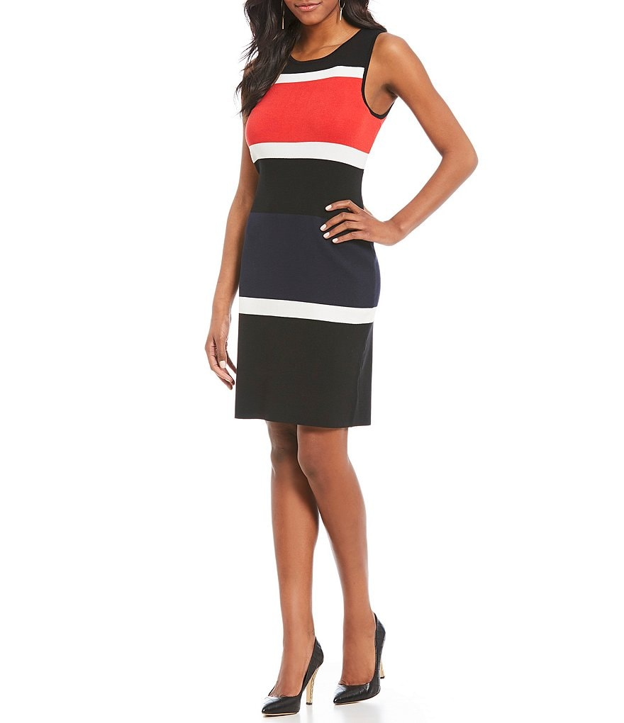 Jones New York Colorblock Fine Gauge Rib Knit Sheath Dress
