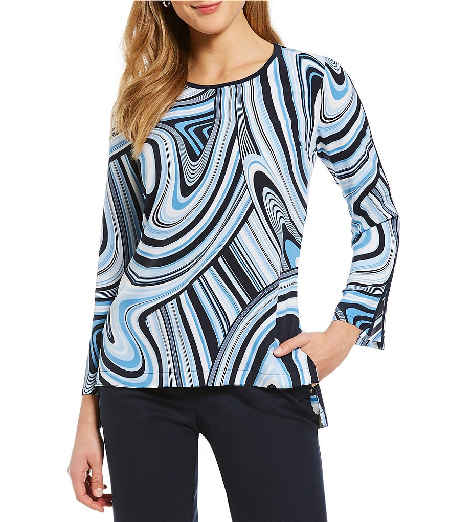 Jones New York Contrast Trim Abstract Print Hi-Low Hem Tunic