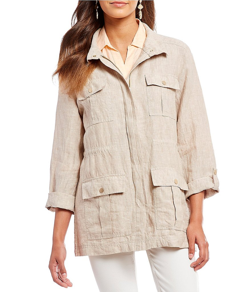 Jones New York Cross-Dye Linen Safari Utility Jacket
