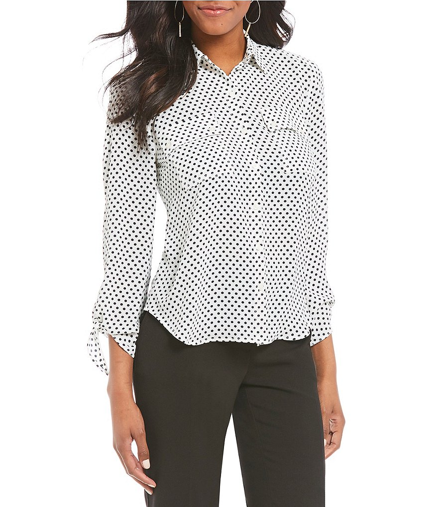Jones New York Polka Dot Print Georgette Tie Sleeve Shirt
