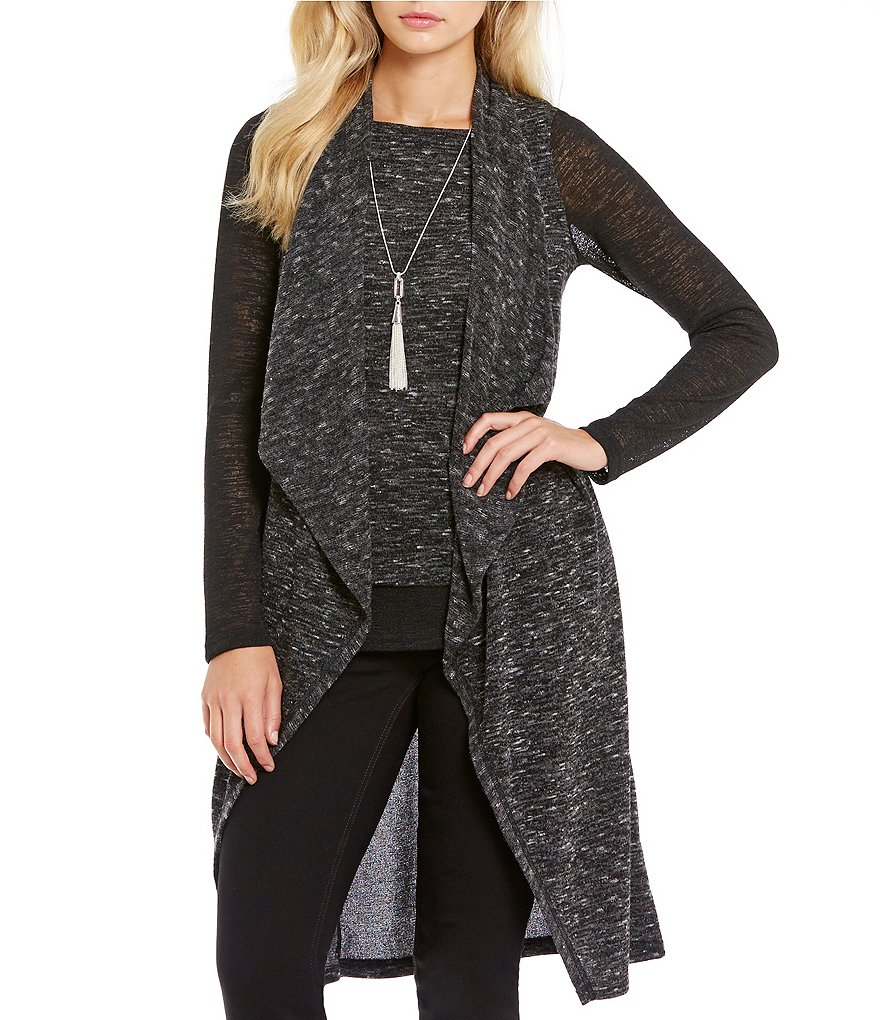 Jones New York Drape Front Maxi Cardigan