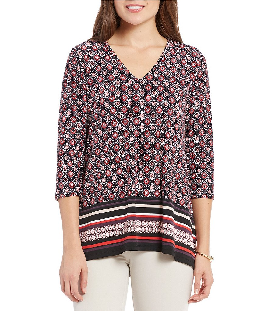 Jones New York Geometric Medallion Border Print Matte Jersey Top