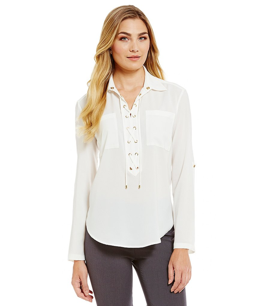 Jones New York Lace-Up Placket Roll Sleeve Tunic