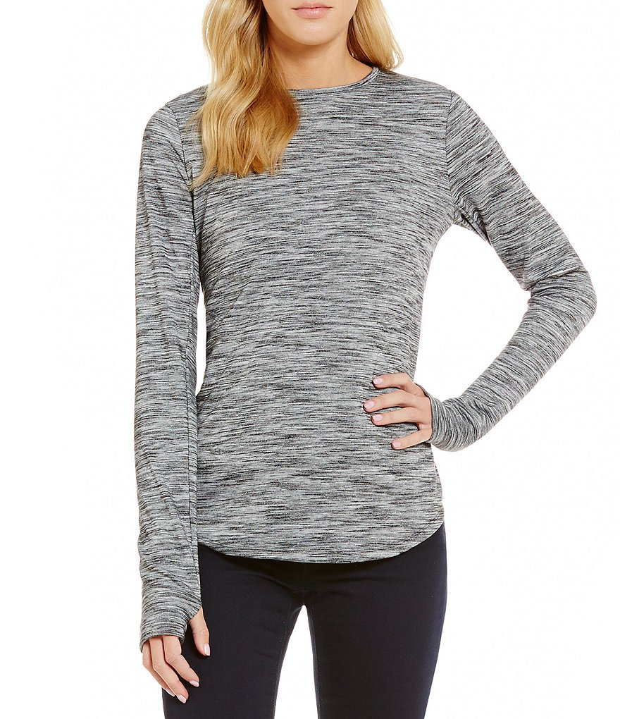 Jones New York Long Sleeve With Thumb Holes Space-Dye Shirttail Hem Knit Top